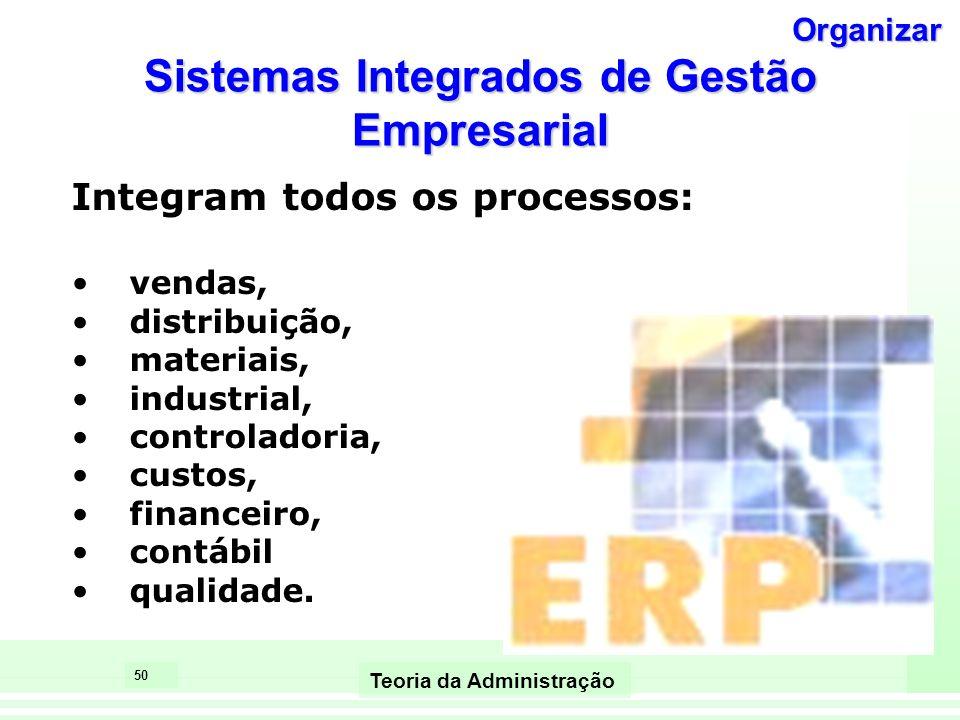 50 Teoria da Administração Sistemas Integrados de Gestão Empresarial Integram todos os processos: vendas, distribuição, materiais, industrial, control