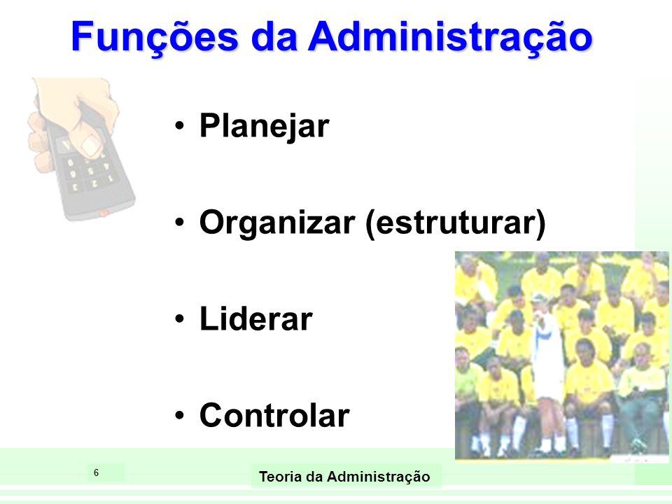 6 Teoria da Administração Funções da Administração Planejar Organizar (estruturar) Liderar Controlar