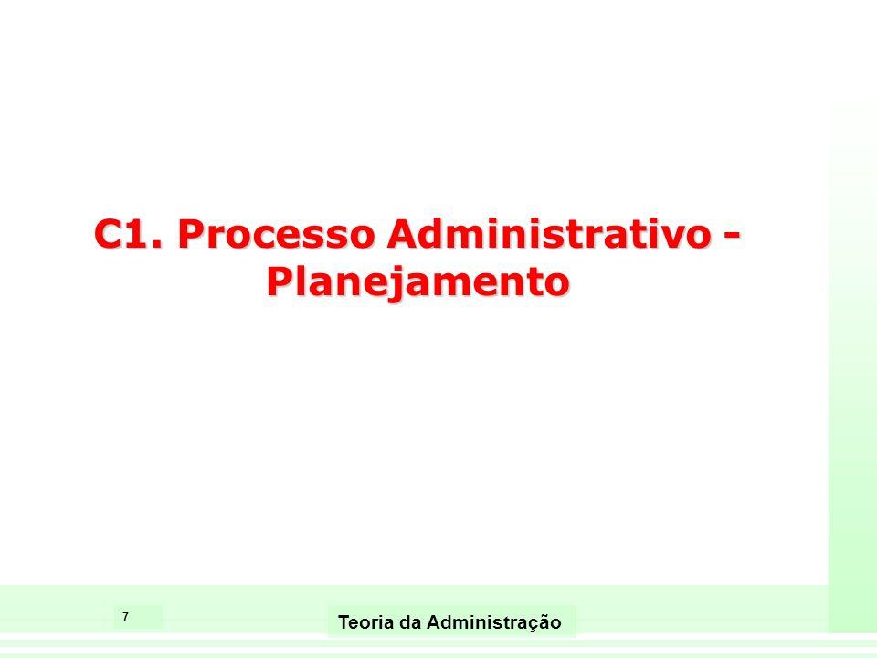 7 Teoria da Administração C1. Processo Administrativo - Planejamento
