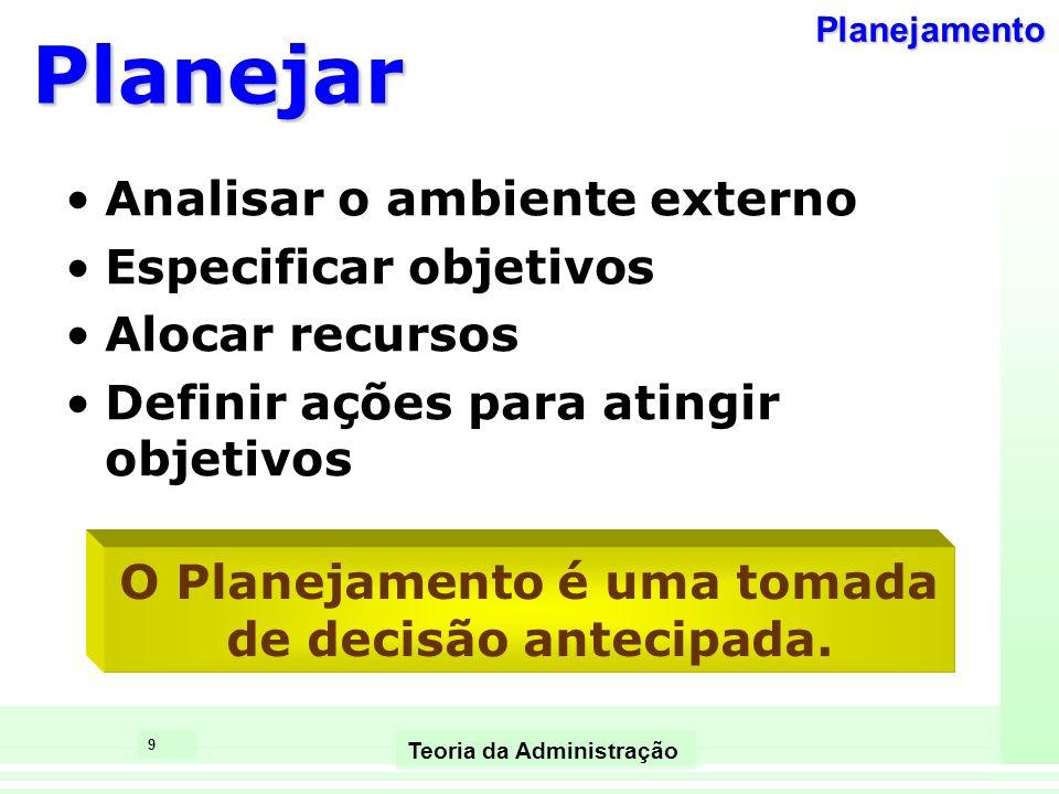9 Teoria da Administração Planejar Analisar o ambiente externo Especificar objetivos Alocar recursos Definir ações para atingir objetivos O Planejamen