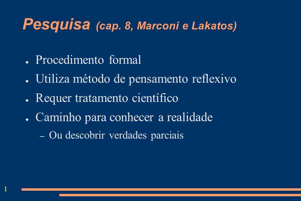 1 Pesquisa (cap. 8, Marconi e Lakatos) Procedimento formal Utiliza método de pensamento reflexivo Requer tratamento científico Caminho para conhecer a