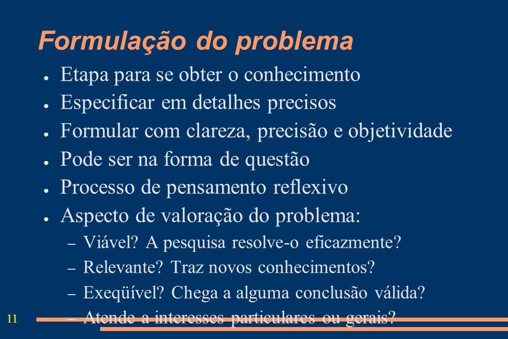 11 Formulação do problema Etapa para se obter o conhecimento Especificar em detalhes precisos Formular com clareza, precisão e objetividade Pode ser n