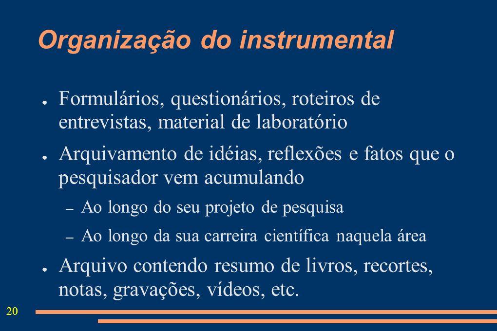 20 Organização do instrumental Formulários, questionários, roteiros de entrevistas, material de laboratório Arquivamento de idéias, reflexões e fatos