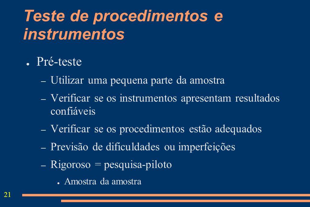 21 Teste de procedimentos e instrumentos Pré-teste – Utilizar uma pequena parte da amostra – Verificar se os instrumentos apresentam resultados confiá