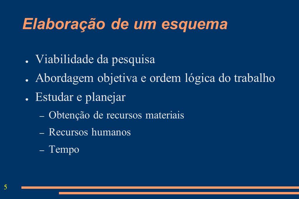 5 Elaboração de um esquema Viabilidade da pesquisa Abordagem objetiva e ordem lógica do trabalho Estudar e planejar – Obtenção de recursos materiais –