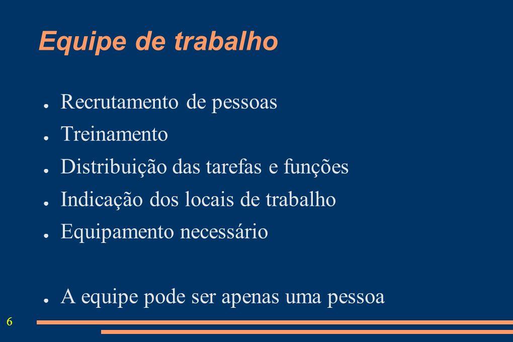 6 Equipe de trabalho Recrutamento de pessoas Treinamento Distribuição das tarefas e funções Indicação dos locais de trabalho Equipamento necessário A