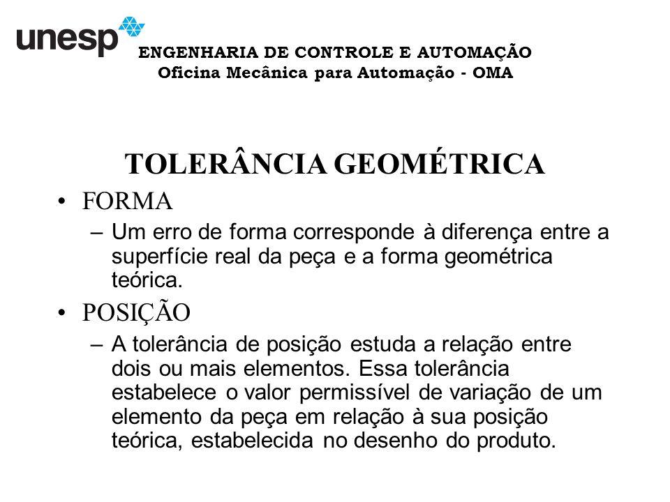ENGENHARIA DE CONTROLE E AUTOMAÇÃO Oficina Mecânica para Automação - OMA TOLERÂNCIA GEOMÉTRICA FORMA –Um erro de forma corresponde à diferença entre a superfície real da peça e a forma geométrica teórica.
