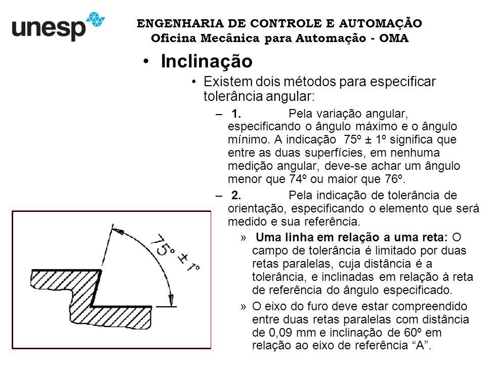 ENGENHARIA DE CONTROLE E AUTOMAÇÃO Oficina Mecânica para Automação - OMA Inclinação Existem dois métodos para especificar tolerância angular: – 1.Pela variação angular, especificando o ângulo máximo e o ângulo mínimo.
