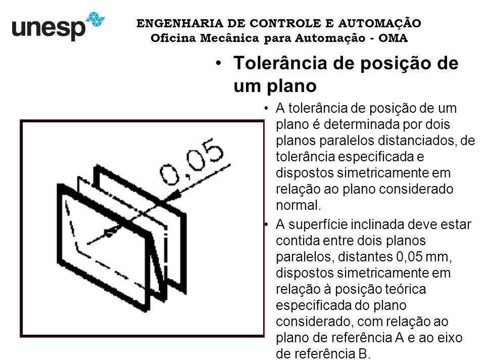 ENGENHARIA DE CONTROLE E AUTOMAÇÃO Oficina Mecânica para Automação - OMA Tolerância de posição de um plano A tolerância de posição de um plano é determinada por dois planos paralelos distanciados, de tolerância especificada e dispostos simetricamente em relação ao plano considerado normal.