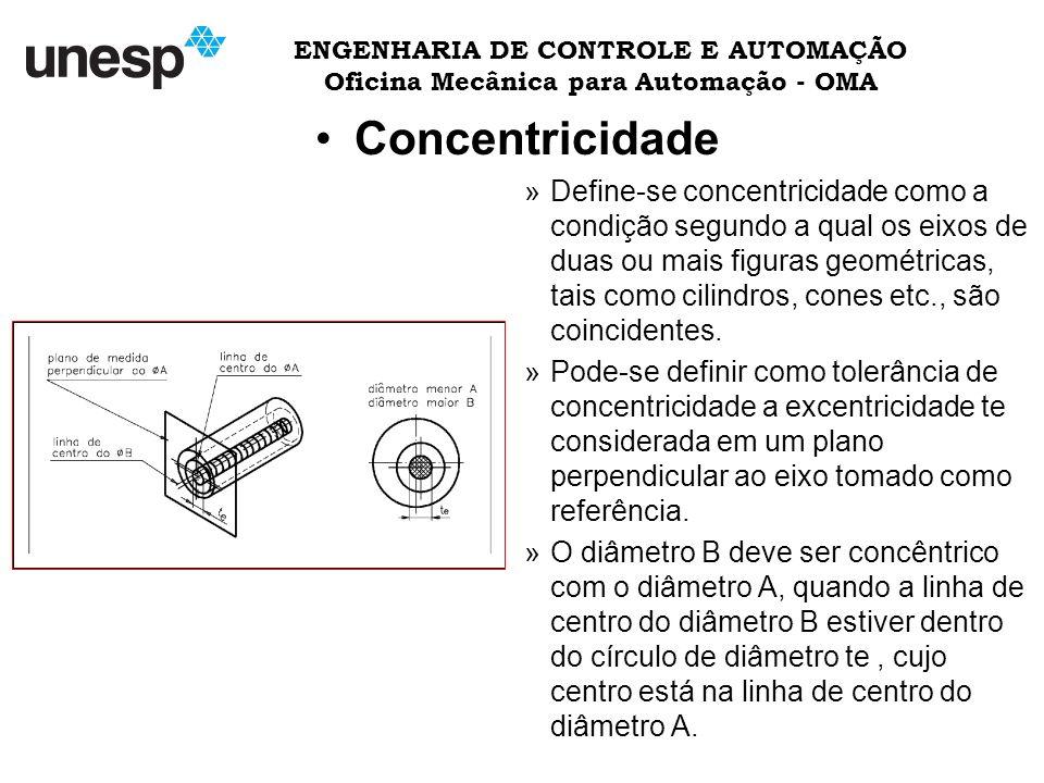 ENGENHARIA DE CONTROLE E AUTOMAÇÃO Oficina Mecânica para Automação - OMA Concentricidade »Define-se concentricidade como a condição segundo a qual os eixos de duas ou mais figuras geométricas, tais como cilindros, cones etc., são coincidentes.