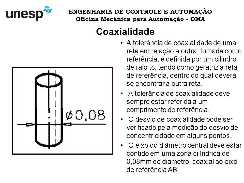 ENGENHARIA DE CONTROLE E AUTOMAÇÃO Oficina Mecânica para Automação - OMA Coaxialidade A tolerância de coaxialidade de uma reta em relação a outra, tomada como referência, é definida por um cilindro de raio tc, tendo como geratriz a reta de referência, dentro do qual deverá se encontrar a outra reta.