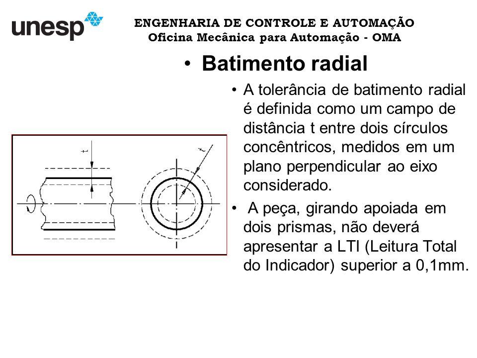 ENGENHARIA DE CONTROLE E AUTOMAÇÃO Oficina Mecânica para Automação - OMA Batimento radial A tolerância de batimento radial é definida como um campo de distância t entre dois círculos concêntricos, medidos em um plano perpendicular ao eixo considerado.