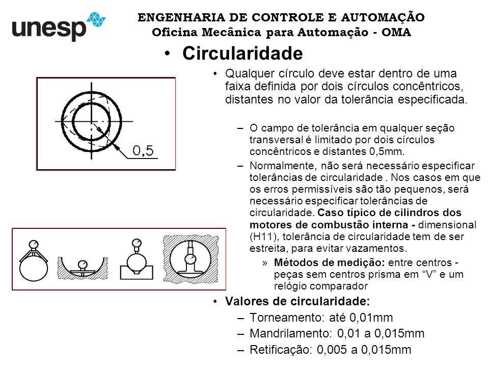 ENGENHARIA DE CONTROLE E AUTOMAÇÃO Oficina Mecânica para Automação - OMA Circularidade Qualquer círculo deve estar dentro de uma faixa definida por dois círculos concêntricos, distantes no valor da tolerância especificada.