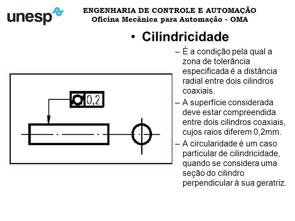 ENGENHARIA DE CONTROLE E AUTOMAÇÃO Oficina Mecânica para Automação - OMA Cilindricidade –É a condição pela qual a zona de tolerância especificada é a distância radial entre dois cilindros coaxiais.