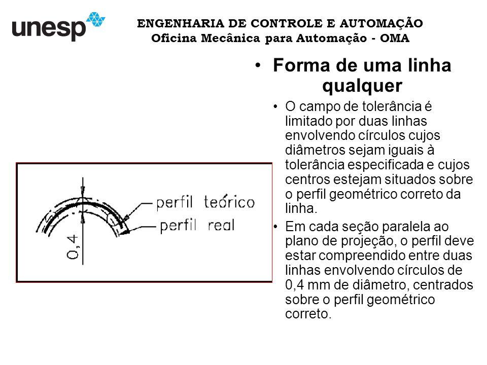 ENGENHARIA DE CONTROLE E AUTOMAÇÃO Oficina Mecânica para Automação - OMA Forma de uma linha qualquer O campo de tolerância é limitado por duas linhas envolvendo círculos cujos diâmetros sejam iguais à tolerância especificada e cujos centros estejam situados sobre o perfil geométrico correto da linha.
