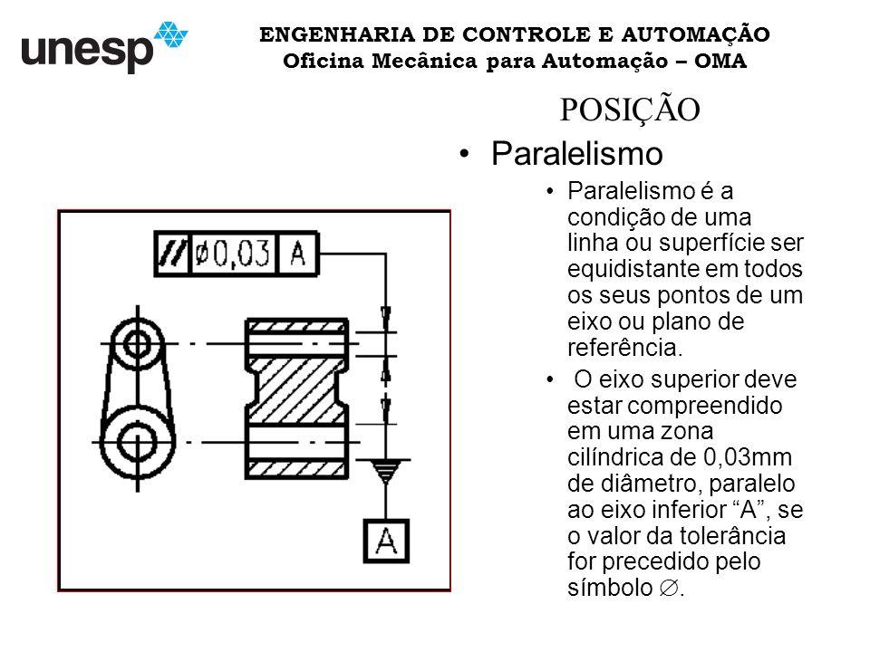 ENGENHARIA DE CONTROLE E AUTOMAÇÃO Oficina Mecânica para Automação – OMA POSIÇÃO Paralelismo Paralelismo é a condição de uma linha ou superfície ser equidistante em todos os seus pontos de um eixo ou plano de referência.