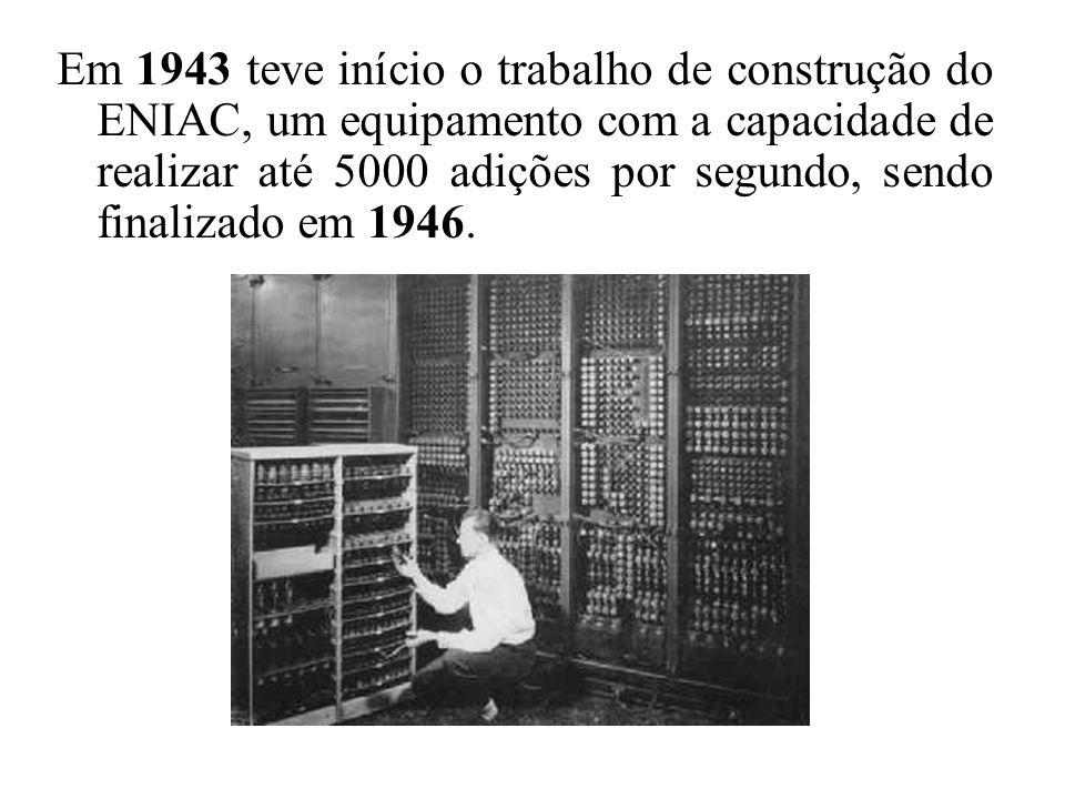 Em 1943 teve início o trabalho de construção do ENIAC, um equipamento com a capacidade de realizar até 5000 adições por segundo, sendo finalizado em 1