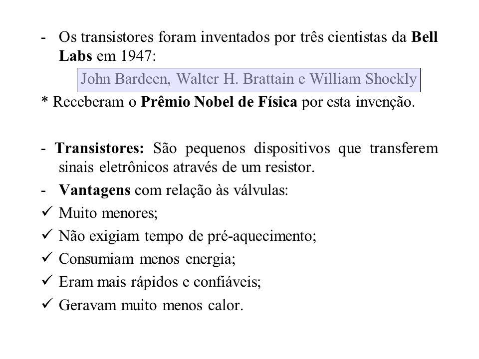 -Os transistores foram inventados por três cientistas da Bell Labs em 1947: John Bardeen, Walter H. Brattain e William Shockly * Receberam o Prêmio No