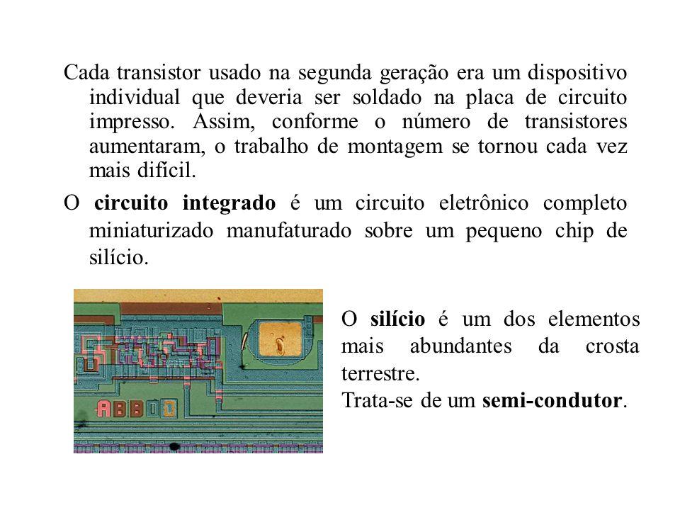 Cada transistor usado na segunda geração era um dispositivo individual que deveria ser soldado na placa de circuito impresso. Assim, conforme o número