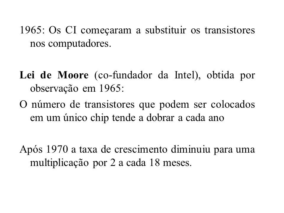 1965: Os CI começaram a substituir os transistores nos computadores. Lei de Moore (co-fundador da Intel), obtida por observação em 1965: O número de t