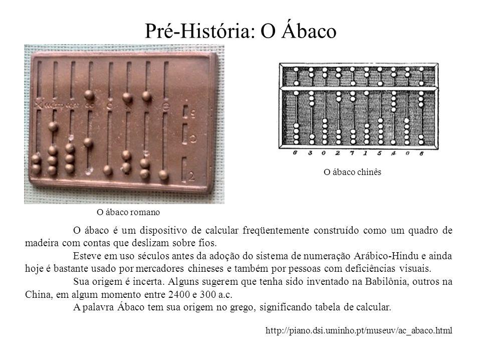 Pré-História: O Ábaco O ábaco romano O ábaco chinês O ábaco é um dispositivo de calcular freqüentemente construído como um quadro de madeira com conta