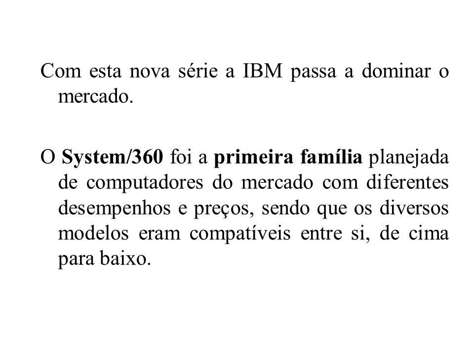 Com esta nova série a IBM passa a dominar o mercado. O System/360 foi a primeira família planejada de computadores do mercado com diferentes desempenh