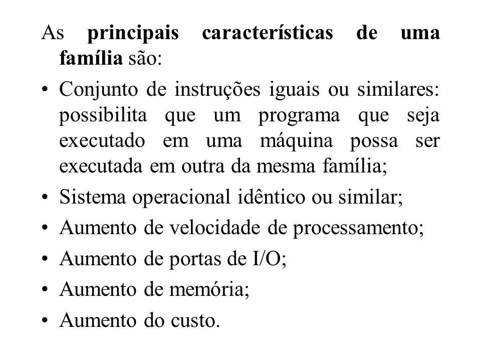 As principais características de uma família são: Conjunto de instruções iguais ou similares: possibilita que um programa que seja executado em uma má