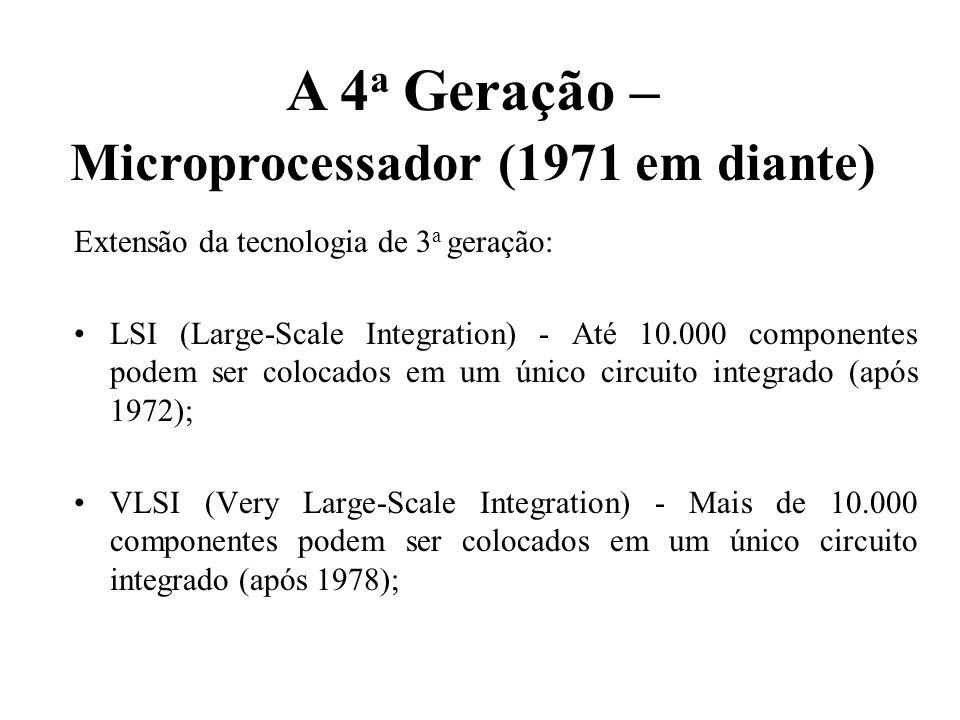 Extensão da tecnologia de 3 a geração: LSI (Large-Scale Integration) - Até 10.000 componentes podem ser colocados em um único circuito integrado (após