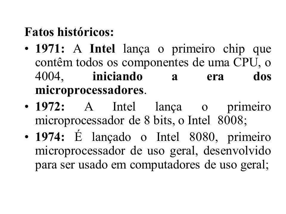 Fatos históricos: 1971: A Intel lança o primeiro chip que contêm todos os componentes de uma CPU, o 4004, iniciando a era dos microprocessadores. 1972