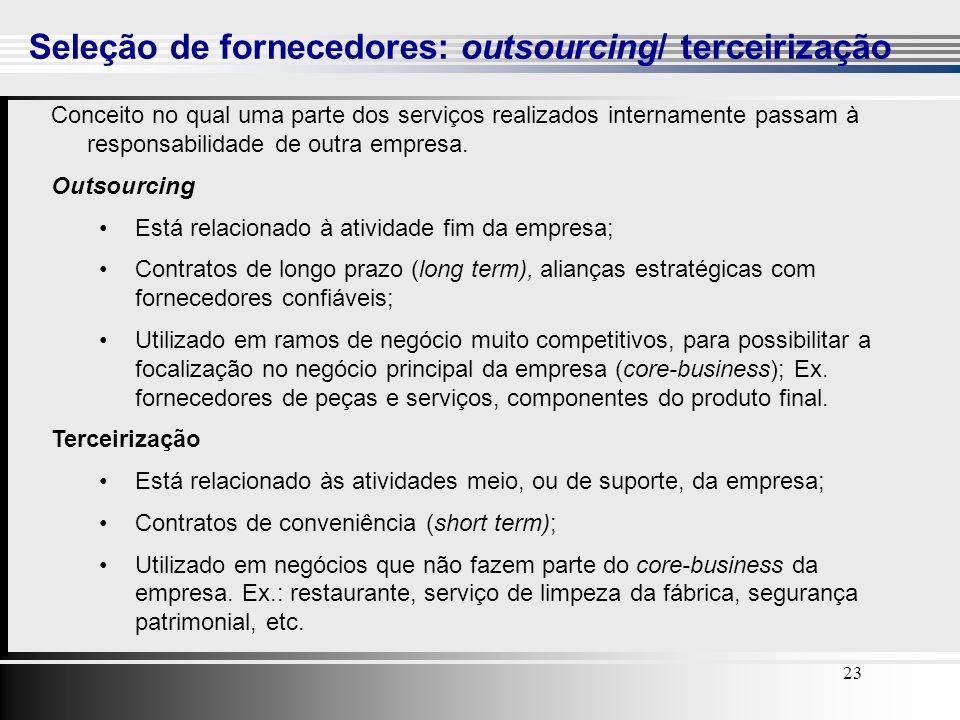 23 Seleção de fornecedores: outsourcing/ terceirização Conceito no qual uma parte dos serviços realizados internamente passam à responsabilidade de ou
