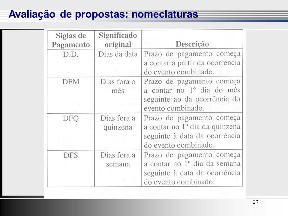 27 Avaliação de propostas: nomeclaturas 27