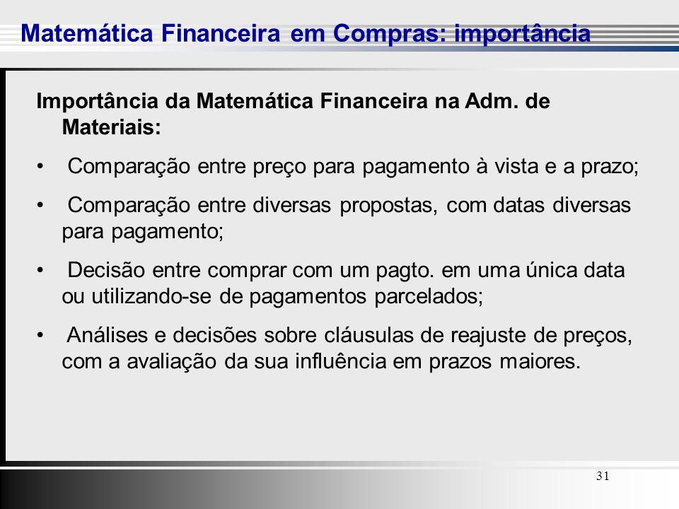 31 Matemática Financeira em Compras: importância 31 Importância da Matemática Financeira na Adm. de Materiais: Comparação entre preço para pagamento à