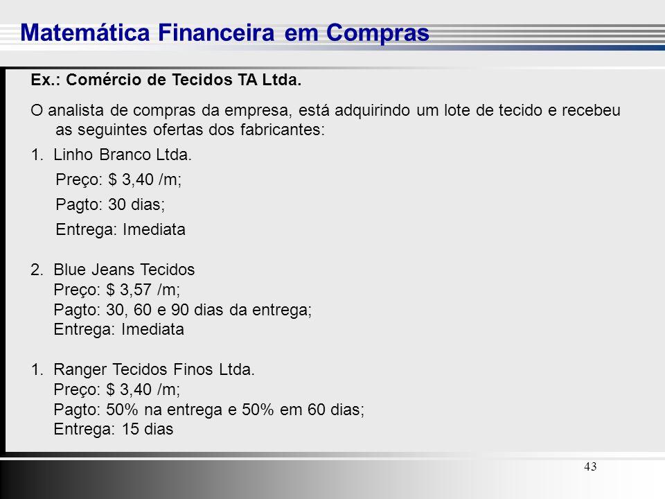 43 Matemática Financeira em Compras 43 Ex.: Comércio de Tecidos TA Ltda. O analista de compras da empresa, está adquirindo um lote de tecido e recebeu