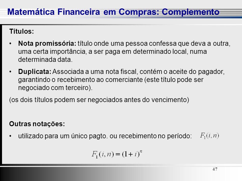 47 Matemática Financeira em Compras: Complemento 47 Títulos: Nota promissória: título onde uma pessoa confessa que deva a outra, uma certa importância