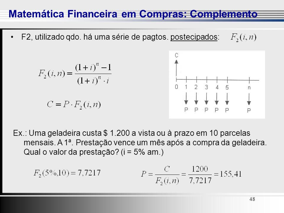 48 Matemática Financeira em Compras: Complemento 48 F2, utilizado qdo. há uma série de pagtos. postecipados: Ex.: Uma geladeira custa $ 1.200 a vista