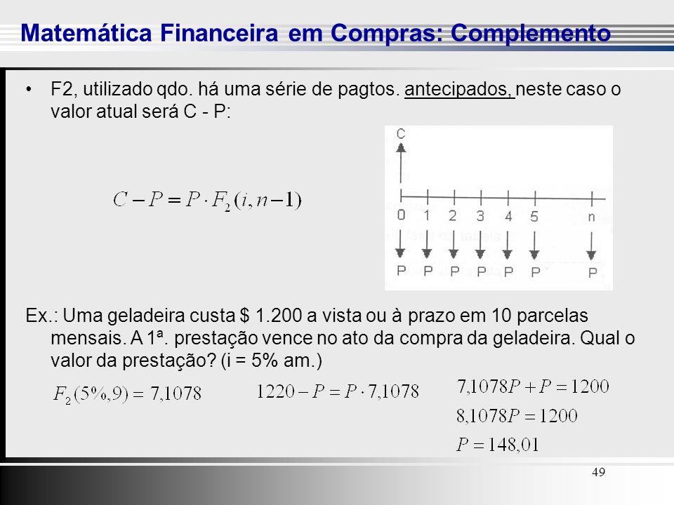 49 Matemática Financeira em Compras: Complemento 49 F2, utilizado qdo. há uma série de pagtos. antecipados, neste caso o valor atual será C - P: Ex.: