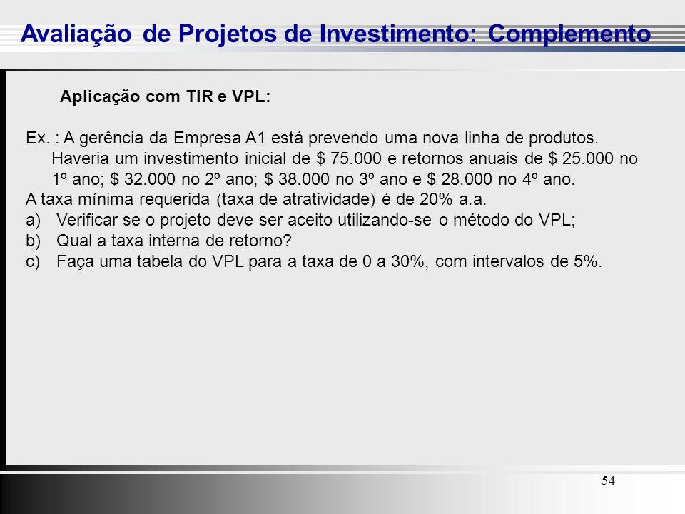 54 Avaliação de Projetos de Investimento: Complemento 54 Aplicação com TIR e VPL: Ex. : A gerência da Empresa A1 está prevendo uma nova linha de produ