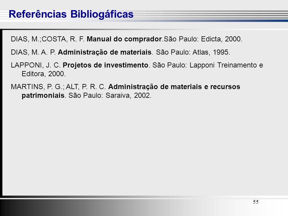 55 Referências Bibliogáficas 55 DIAS, M.;COSTA, R. F. Manual do comprador.São Paulo: Edicta, 2000. DIAS, M. A. P. Administração de materiais. São Paul