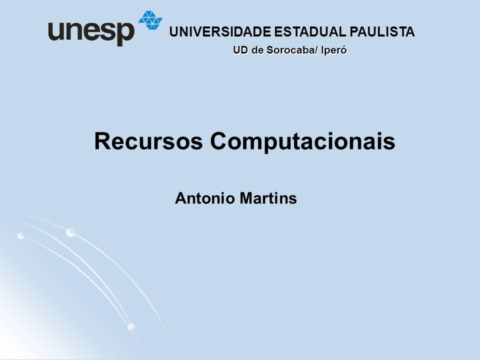 UD de Sorocaba/ Iperó UNIVERSIDADE ESTADUAL PAULISTA Recursos Computacionais Antonio Martins