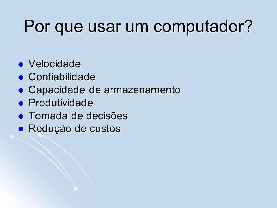 Harware x Software Hardware – componentes físicos que compõe um computador Software – componentes lógicos que permitem a execução de tarefas em um computador