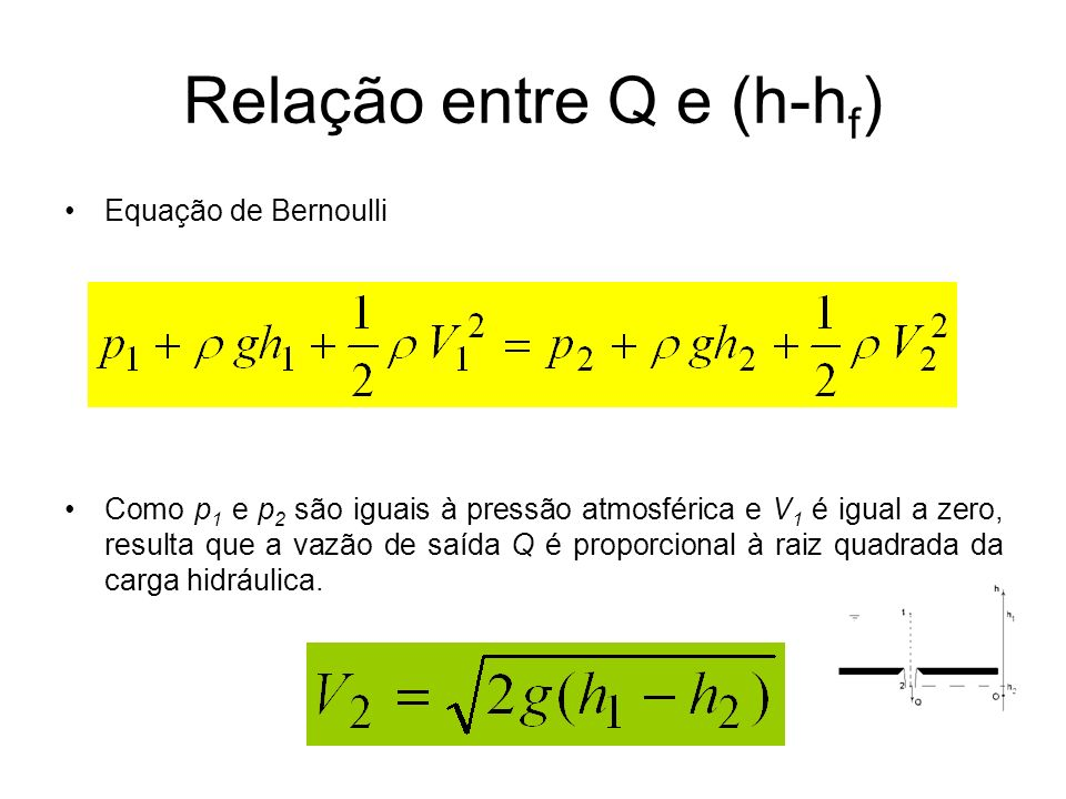 Relação entre Q e (h-h f ) Equação de Bernoulli Como p 1 e p 2 são iguais à pressão atmosférica e V 1 é igual a zero, resulta que a vazão de saída Q é