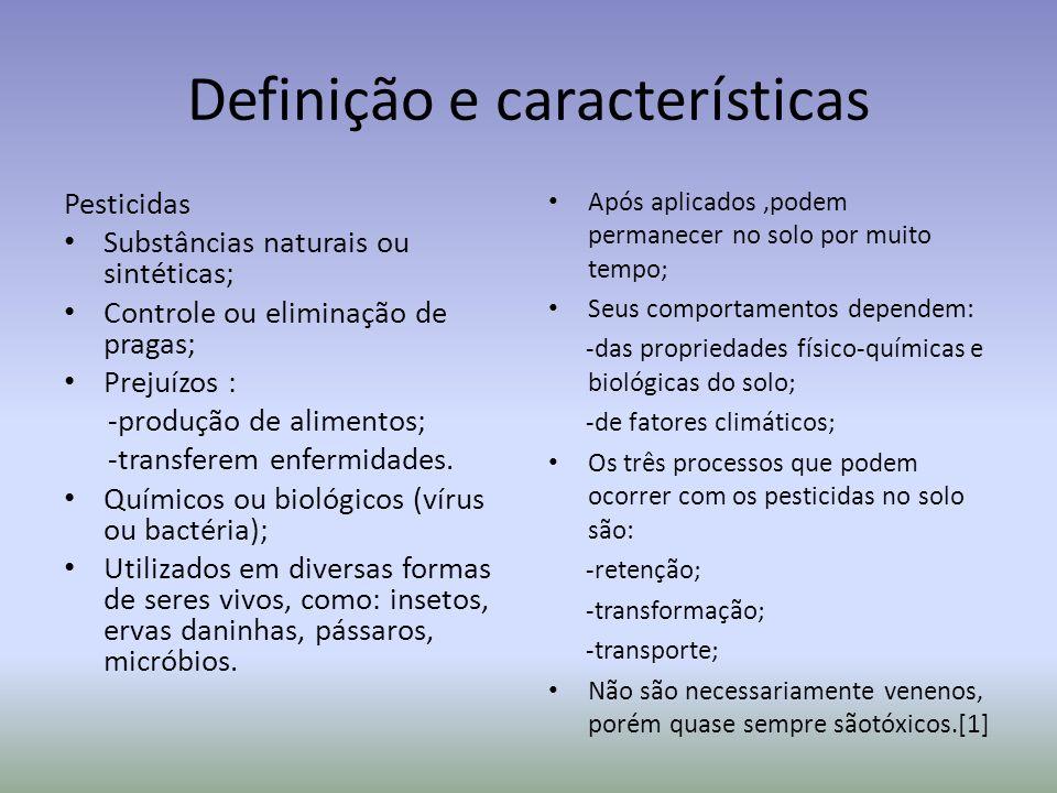 Definição e características Pesticidas Substâncias naturais ou sintéticas; Controle ou eliminação de pragas; Prejuízos : -produção de alimentos; -tran