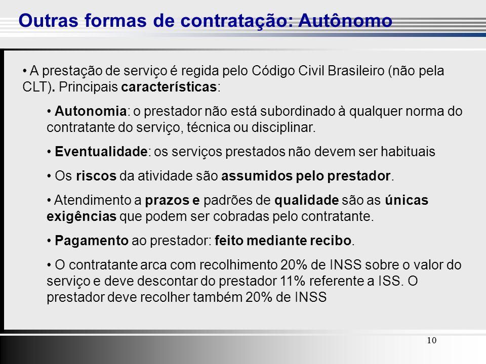 10 Outras formas de contratação: Autônomo 10 A prestação de serviço é regida pelo Código Civil Brasileiro (não pela CLT). Principais características: