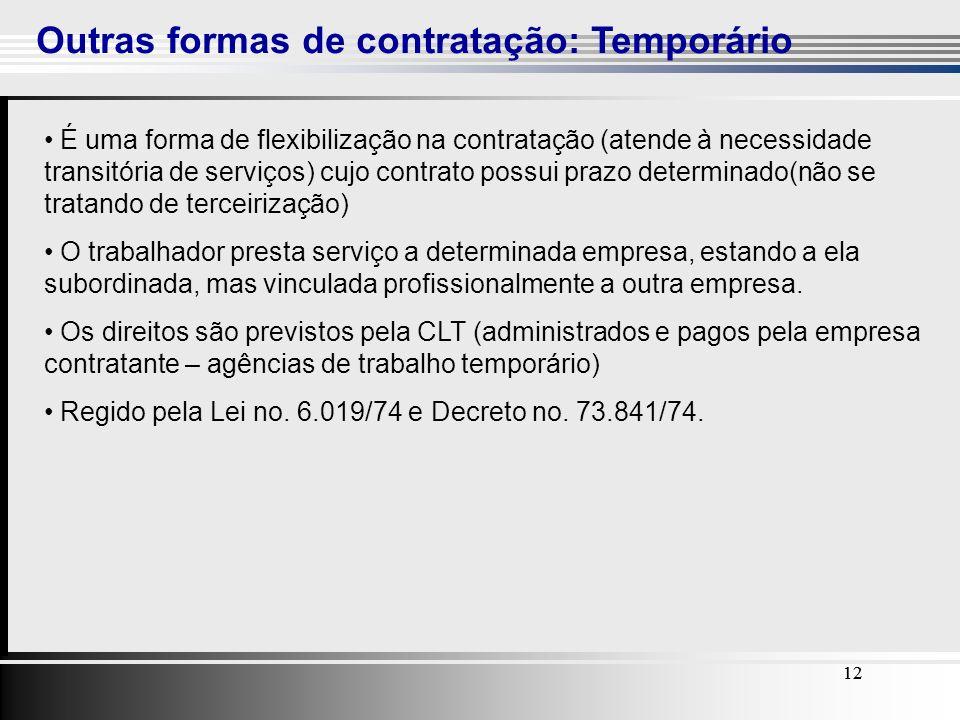 12 Outras formas de contratação: Temporário 12 É uma forma de flexibilização na contratação (atende à necessidade transitória de serviços) cujo contra