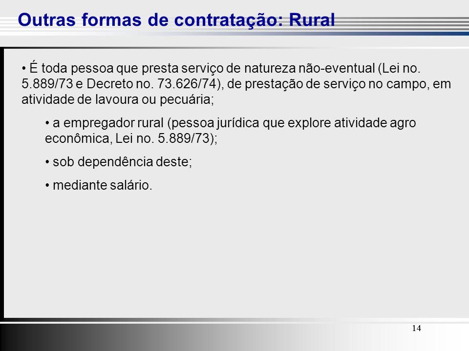 14 Outras formas de contratação: Rural 14 É toda pessoa que presta serviço de natureza não-eventual (Lei no. 5.889/73 e Decreto no. 73.626/74), de pre
