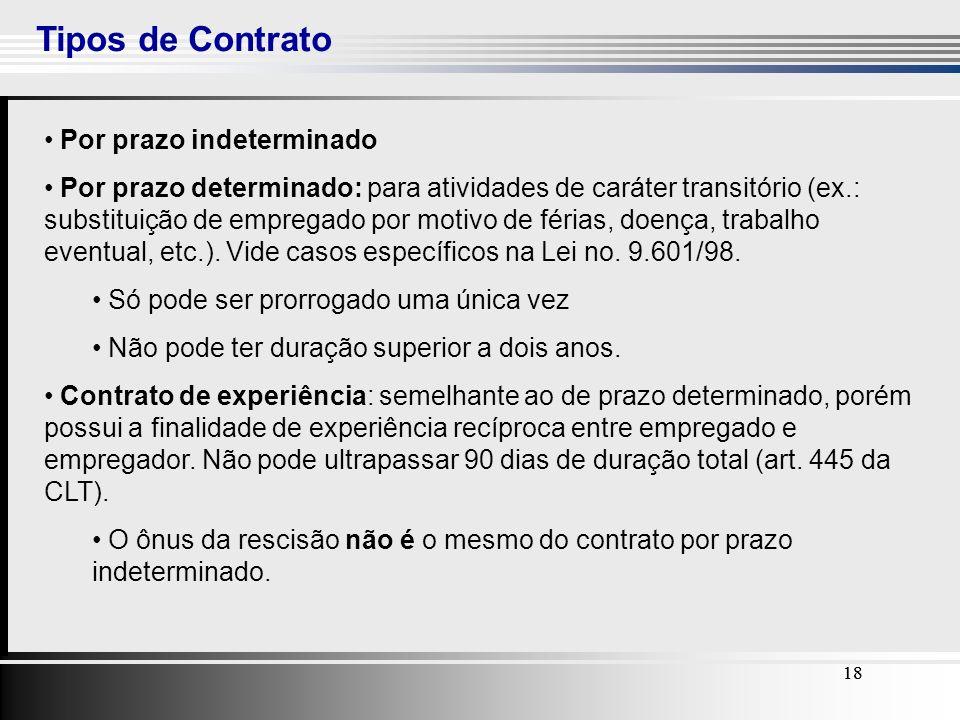 18 Tipos de Contrato 18 Por prazo indeterminado Por prazo determinado: para atividades de caráter transitório (ex.: substituição de empregado por moti