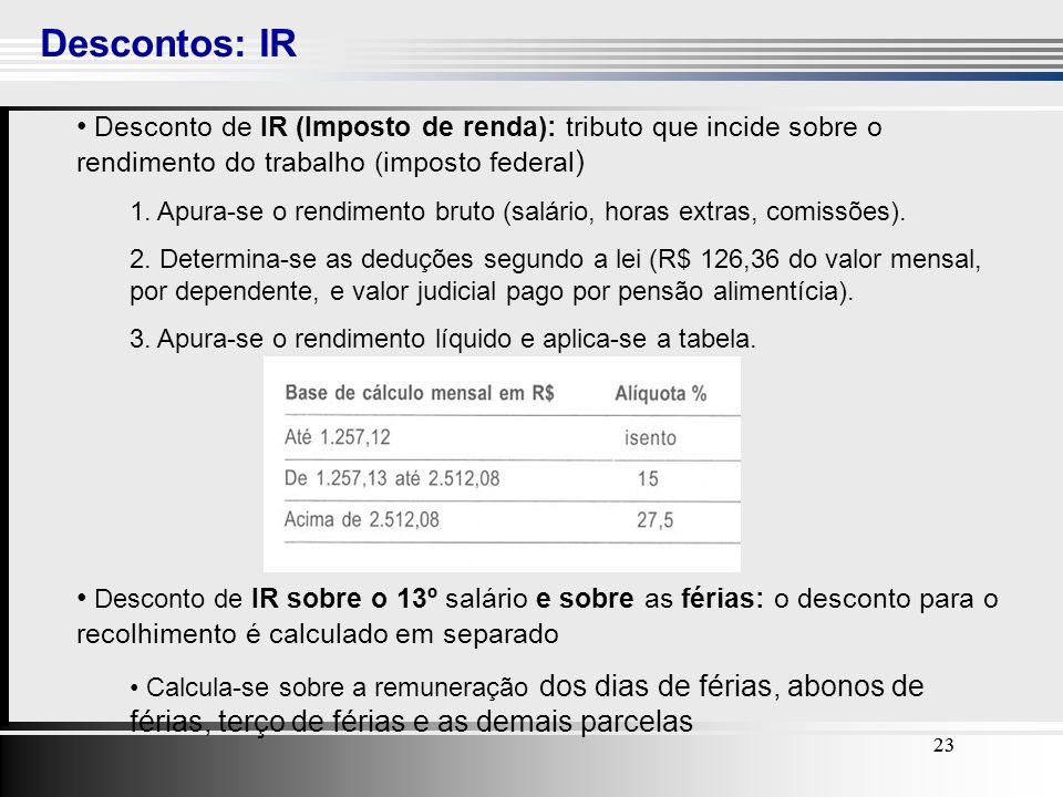 23 Descontos: IR 23 Desconto de IR (Imposto de renda): tributo que incide sobre o rendimento do trabalho (imposto federal ) 1. Apura-se o rendimento b