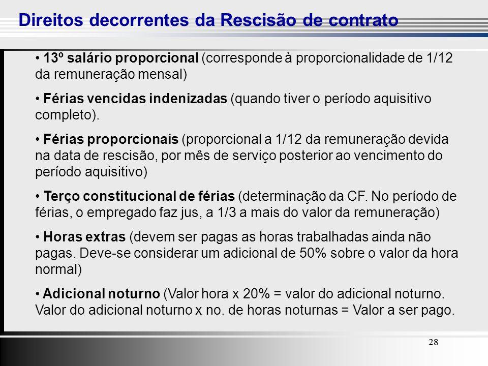 28 Direitos decorrentes da Rescisão de contrato 28 13º salário proporcional (corresponde à proporcionalidade de 1/12 da remuneração mensal) Férias ven