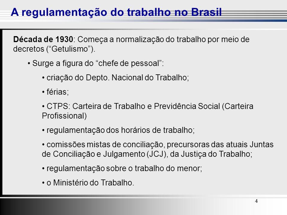 4 A regulamentação do trabalho no Brasil 44 Década de 1930: Começa a normalização do trabalho por meio de decretos (Getulismo). Surge a figura do chef