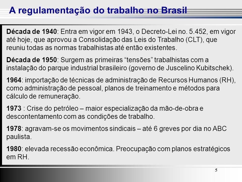 5 A regulamentação do trabalho no Brasil 55 Década de 1940: Entra em vigor em 1943, o Decreto-Lei no. 5.452, em vigor até hoje, que aprovou a Consolid